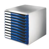 Leitz skuffekabinet med 10 skuffer blå