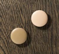 Naga magnet til glastavler runde rosa og oliven, 2 stk