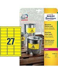 Avery stærke etiketter 63,5x29,6mm L6105-20 neon gul