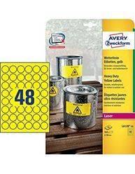 Avery stærke etiketter Ø30mm L6128-20 neon gul