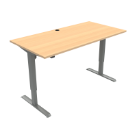 ConSet hæve-sænke bord 160x80cm bøg med sølv stel