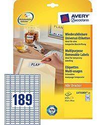 Avery aftagelige etiketter L4731Rev-25, 25,4x10mm