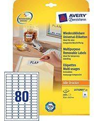 Avery aftagelige etiketter L4732Rev-25, 35,6x16,9mm