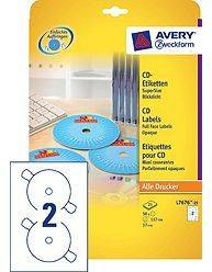 Avery CD Inkjet og Laser etiketter Full face L7676-25 Ø117mm