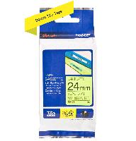 Brother tape TZeC51 24mm sort på neon gul