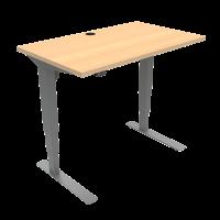 ConSet hæve-sænke bord 100x60cm bøg med sølv stel