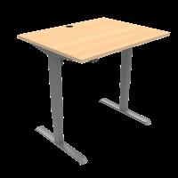 ConSet 501-33 hæve-sænke bord 100x80cm bøg med sølv stel