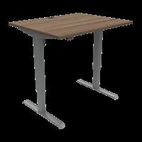 ConSet 501-33 hæve-sænke bord 100x80cm valnød med sølv stel