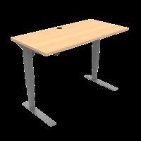 ConSet 501-37 hæve-sænke bord 120x60cm bøg med sølv stel