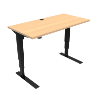 ConSet 501-37 hæve-sænke bord 120x60cm bøg med sort stel