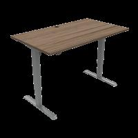 ConSet hæve-sænke bord 140x80cm valnød med sølv stel