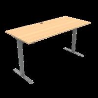 ConSet 501-33 hæve-sænke bord 180x80cm bøg med sølv stel