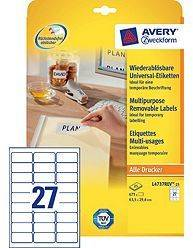 Avery aftagelige etiketter L4737Rev-25, 63,5x29,6mm