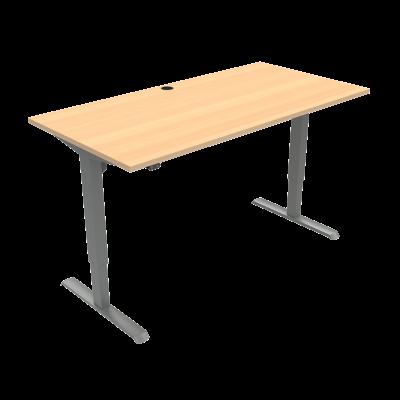 ConSet 501-33 hæve-sænke bord 160x80cm bøg med sølv stel
