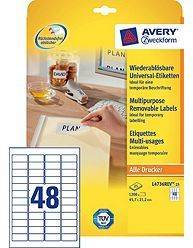 Avery aftagelige etiketter L4736Rev-25, 45,7x21,2mm