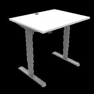 ConSet 501-33 hæve-sænke bord 100x80cm hvid med sølv stel