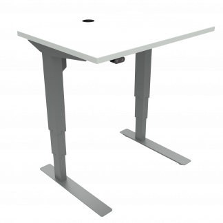ConSet 501-37 hæve-sænke bord 80x60cm hvid med sølv stel